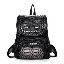 Популярные Моды Заклепки Натуральной Овчины рюкзак Высокий класс Оборудования школьная сумка Повседневная из натуральной кожи женские сумки для путешествий