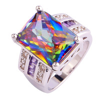 Wholesale Cocktail Jewelry Rings Rainbow Topaz White Topaz Amethyst 925 Silver Ring Size 7 8 9