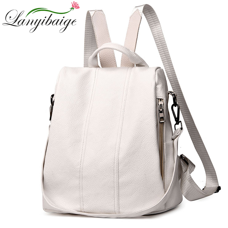 Summer White Fashion PU Leather Anti-thief Backpack Large Capacity School Bag For Teenager Girls Multifunction Casual Sac A Dos