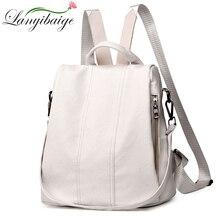 Verano blanco moda PU cuero Anti-thief mochila de gran capacidad bolsa de escuela para niñas adolescentes multifunción Casual Sac a dos