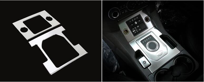 ABS Chrome Inner Gear Shift + Cigarette Lighter Panel Cover Trim 2pcs/set For Land Rover LR4 Discovery 4 2014 2015 for land rover discovery 4 lr4 accessories abs dark wood grain center console ac outlet cover trim sticker for lhd 2pcs set