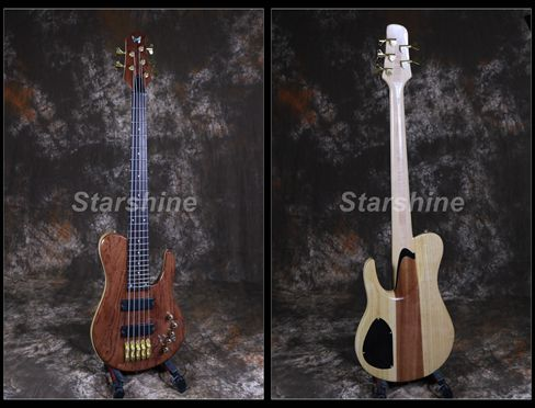 Starshine High Quality 5 Strings Electric Bass Guitar YL BS90 Solid RedWood Top ASH Body Gold Hardware Active 3 Piece Maple Neck