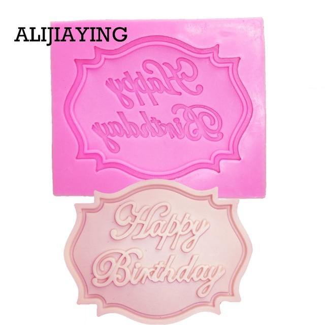 M0070 Felice Compleanno Lettera forma in silicone della muffa del cioccolato fondente Attrezzi della decorazione della torta del bigné della muffa