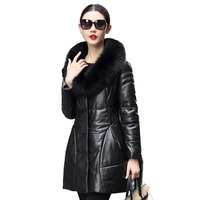 Real Genuine Leather Jacket Women Sheepskin Coat Fox Fur Collar Winter Coat Women Clothes 2018 Korean Duck Down Plus Size ZT841