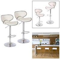2pcs Beige Height 84 105 cm Home Kitchen Breakfast Bar Stools Modern Bar Stools Pub bar Chairs Swivel Adjustable Chairs Stools