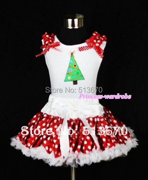 White Tank Top with Christmas Tree Print with Minnie Dots Ruffles & Ribbon & White Minnie Polka Dots Pettiskirt MAMG304 minnie dots 4th birthday number minnie print tank top with white ruffles