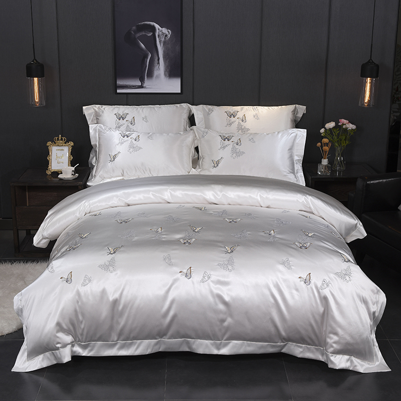 White Silver Silk Cotton Luxury Butterfly Bedding Set 4Pcs Queen King Size Bed Set Embroidery Duvet Cover Bedsheets Linen Set