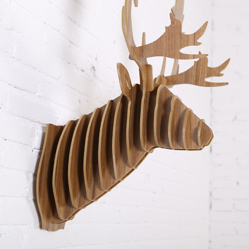 2016 New Fallow Reindeer Head Diy Wooden Wall Home Decor,Canada