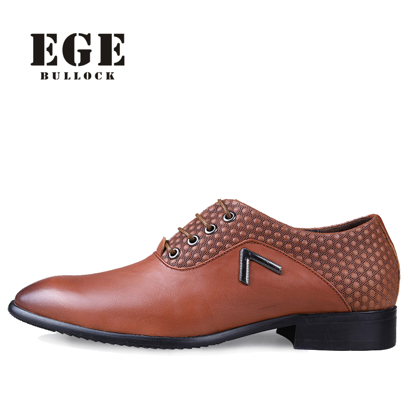 EGE New Arrival Plus Size 38-50 High Quality Genuine Leather Dress Men Oxfords Fashion Lace-up Business Wedding Shoes for Men