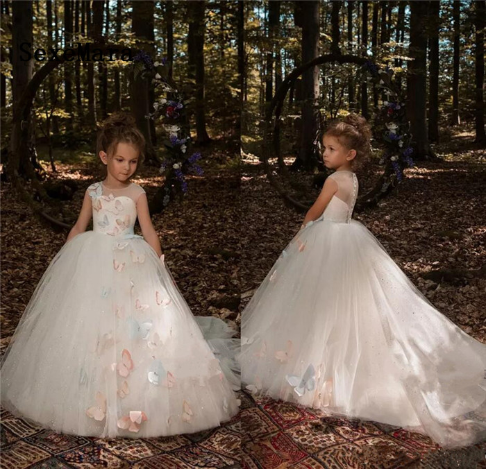 2018 Ivory Cute 3D Butterfly Floral Appliques Flower Girls Dresses Cap Sleeves Tulle Long Little Girls Pageant Dresses