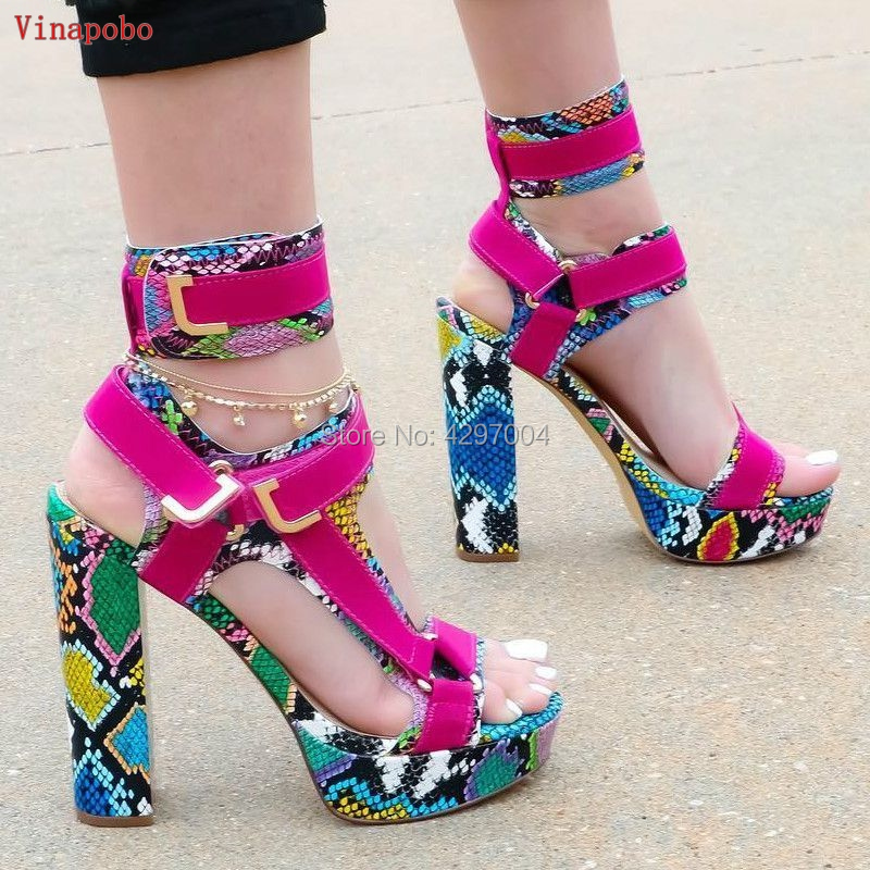 New Design Women Fashion Open Toe Patchwork Platform Chunky Heel Sandals Mixed Colors Ankle Straps Buckles Thick High Heel Sanda