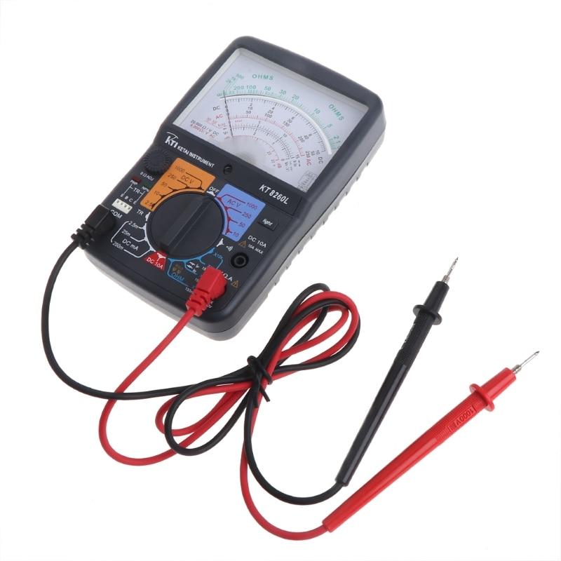 Newest KT8260L Analog Multimeter ACV/DCV/DCA/Electric Ohm Resistance Tester w/ Test Pen