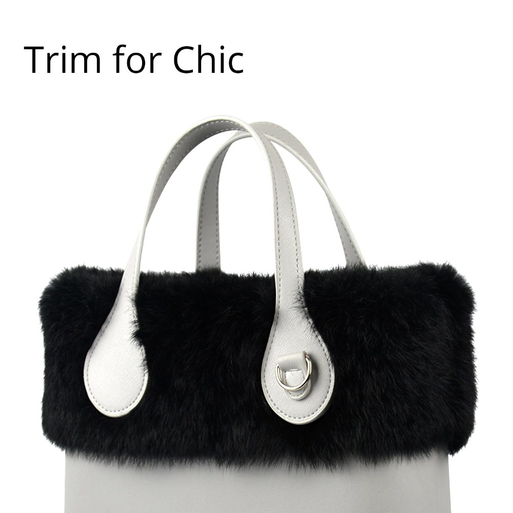 New Women Bag Decoration Real Rabbit Fur Trims Plush Trim For Chic O BAG Thermal Plush Fit For Ochic Obag