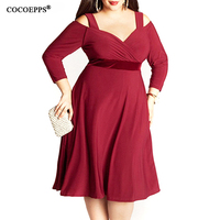 2017 New 8XL 9XL Women Vintage Solid Dress Autumn Plus Size 7XL Bandage Clothing Deep V