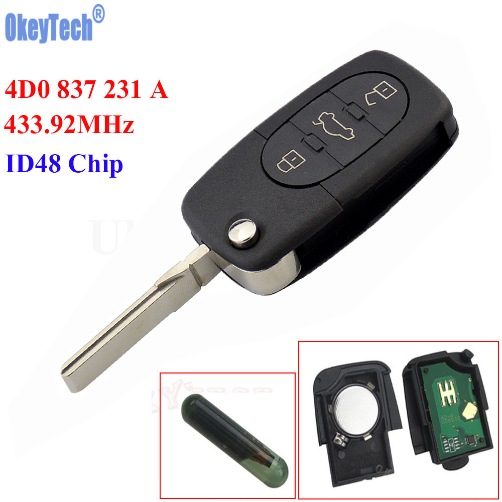 OkeyTech 433MHz 3 Buttons Keyless Uncut Flip Remote Key Fob ID48 Chip for Audi A3 A4 A6 A8 Old Models 4D0 837 231 A 4D0837231A