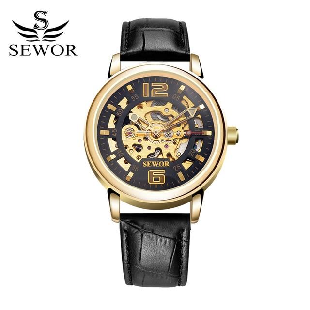 SEWOR Top Brand Watch Men Luxury Leather Mechanical Automatic Skeleton Gold Watch Men Fashion Business Men Dress Clock Watch