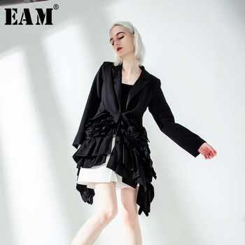 [EAM] 2019 New Autumn Winter Lapel Long Sleeve Black Ruffles Pleated Stitch Loose Irregular Jacket Women Coat Fashion Tide JQ775 - DISCOUNT ITEM  22% OFF All Category