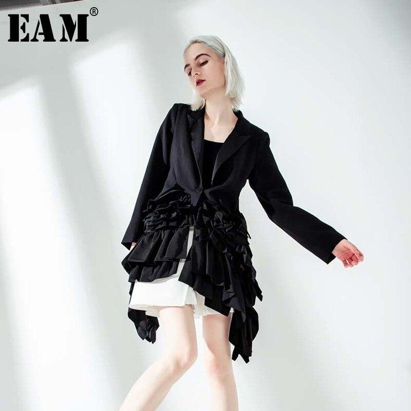 [EAM] 2020 New Spring Autumn Lapel Long Sleeve Black Ruffles Pleated Stitch Loose Irregular Jacket Women Coat Fashion Tide JQ775