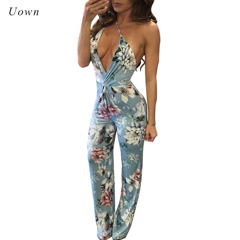 Floral Printed Backless Jumpsuit Women Strap Plunge Deep V Neck Beach Wear Sexy Summer Party Jumpsuits Long Rompers Overalls XL