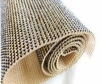 Бесплатная пересылка! 2 мм горный хрусталь отделкой стразами Wrap рулона сетки, вышитый бисером аппликация DIY Кристалл Jet камень свадебные отд...