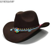 LUCKYLIANJI Kid Child Children s Wool Felt Cowboy Wide Brim Bowler Hat Peace Sign Turquoise Braid