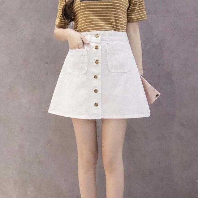 be4b362458397e € 10.07 |Lady fashion mini jupe en denim avec poche femmes pas de jeans  élastiques jupes décontracté noir blanc bleu court une ligne rivet jupe ...