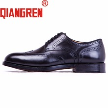 QIANGREN High-grade Handmade All By Italian designer Men's Genuine Leather Brogue Dress Shoes Whole Cowhide Business Shoes