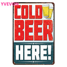 COLD BEER HERE New Metal Bar Sign Retro Decor Party Plaques Alcohol Beverage Drink Poaster for Home Kitchen Music20x30cm
