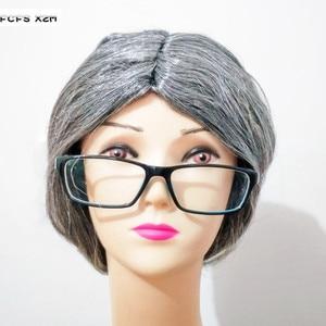 Bun Hair серый грандиозный мать бабушка, маскарадный головной убор Peluca, костюмы на Хэллоуин, карнавальное платье для маскарада, вечеринки