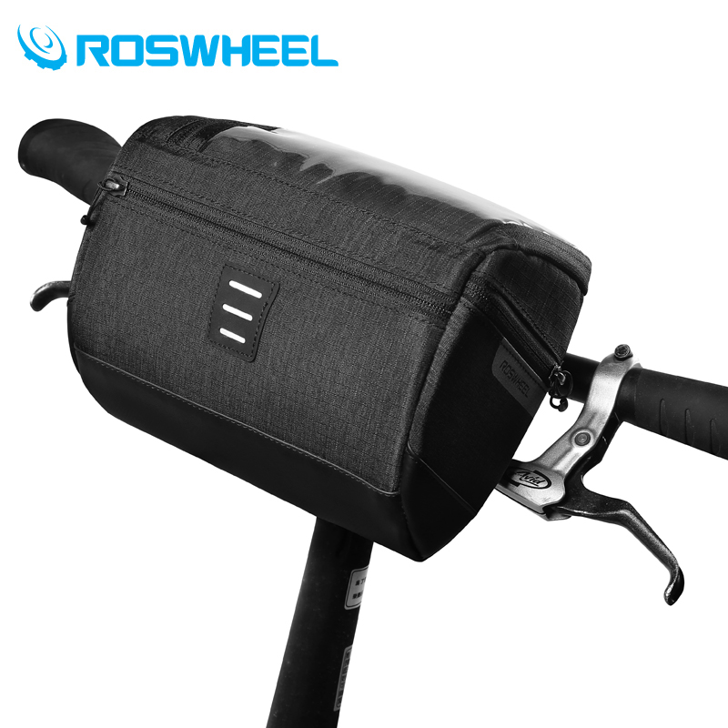 Roswheel Mountain Road Water Resistant Touchscreen Cycling Bike Bicycle Handlebar Bag For Map or Mobile Phone w/ Shoulder Strap