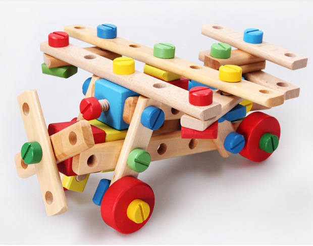 1 Satz Kinder Pädagogisches Holz Multifunktions-mutter-kombination Demontage Klasse Puzzle Spaß Kombination Kinderspielzeug Geschenke