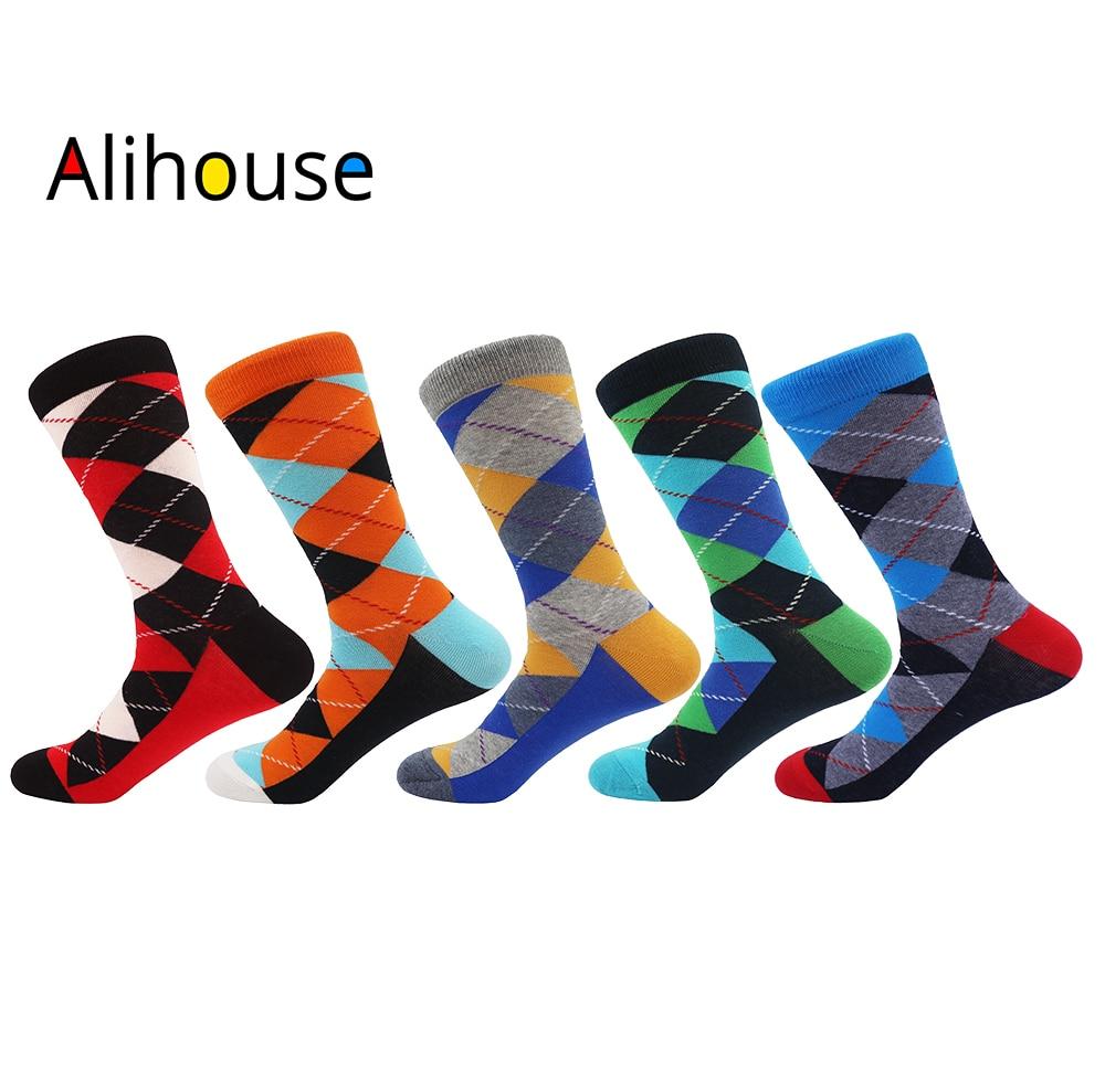 Alihouse Men Socks Happy Socks 5 Pairs/lot Funny Argyle Pattern Combed Cotton Causal Wedding Dress Crew Socks Novelty Socks Men