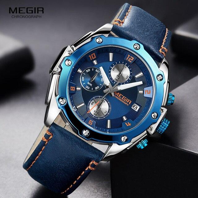 MEGIR Mens Chronograph Quartz Watches Leather Strap Army Sports Casual Wristwatch Man Relogios Masculino Clock 2074 Blue