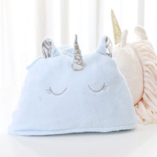 New 2019 Confort Unicornio Flannel Gilding Printing Gold Stamping Hooded Blanket Camo Fabric  Fleece Blankets Fairy Tale Anime