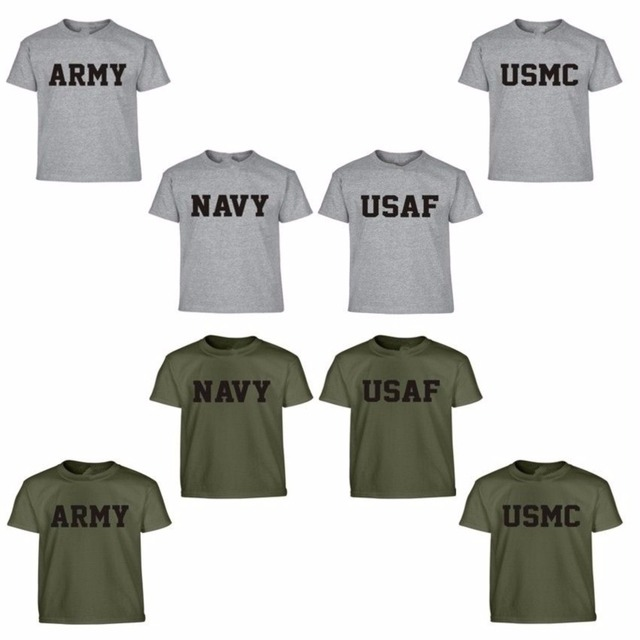 05746546 Summer US Army Navy Air Force USAF Marines USMC Military Physical PT T Shirt  Men Funny Brand O Neck Print Cotton Casual Shirts