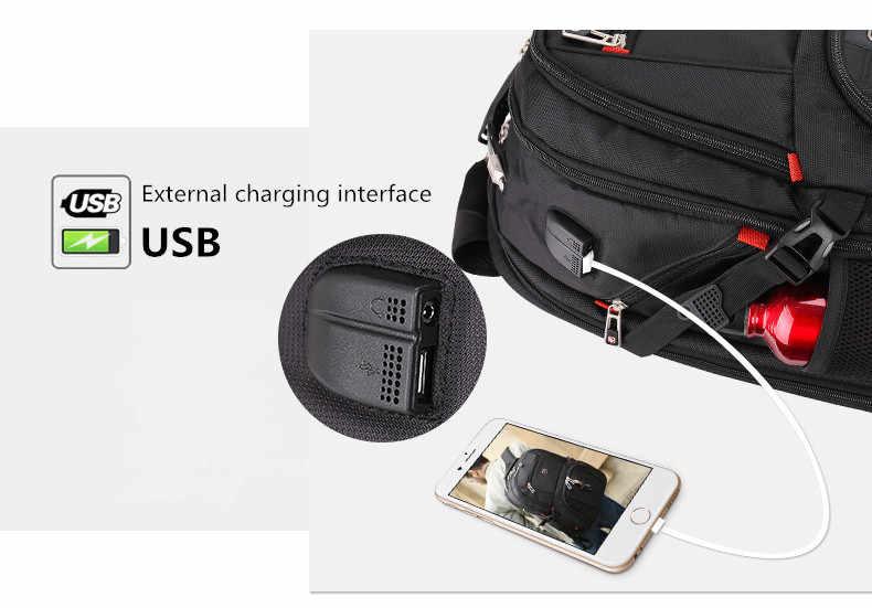Multifungsi Kapasitas Besar Pria Tas Fashion Perjalanan USB Pengisian Tahan Air Anti-Theft 15.6 Cm 17 Inch Laptop Ransel Pria