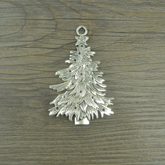 2 pcs vintage tibetan silver plated christmas tree charms metal pendants for jewelry making diy handmade - Silver Plated Christmas Tree Decorations