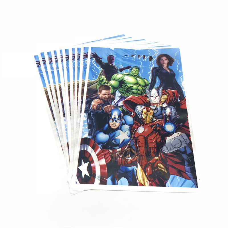 10PCS/lot Avengers Theme Gift Bags For Family Party Decorations Child Boy Birthday Party Wedding Candy Bag Loot Bag Supplies