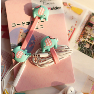 2 PCS/LOT Lovely Carton Earphones Organizer Candy Color Elephant Cable Winder  Button Cable Tie