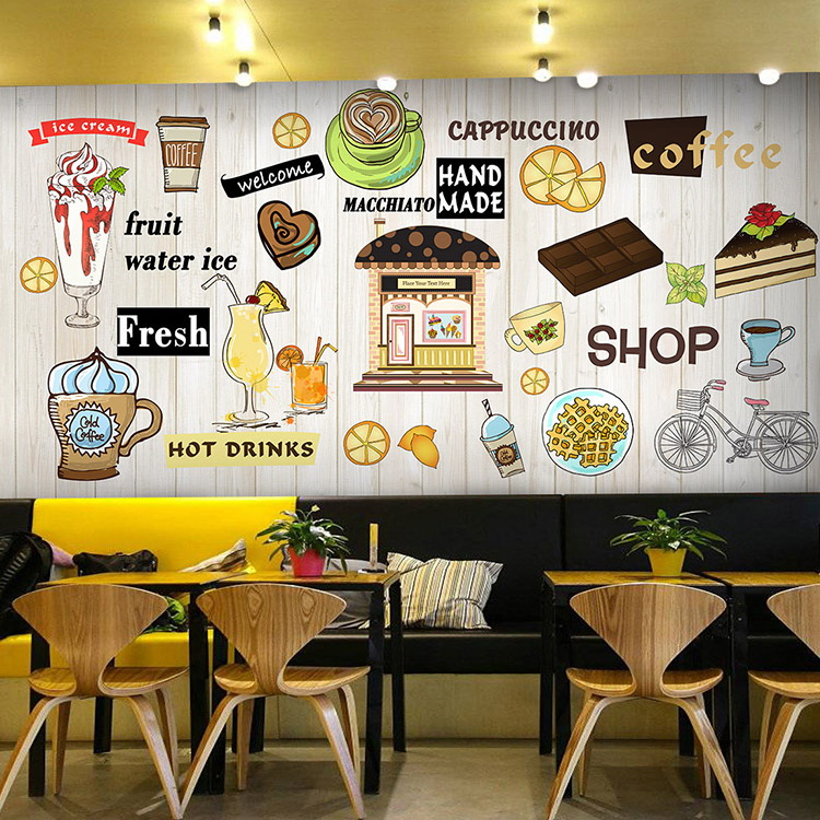 Kitchen Tea Background: Photo Wallpaper 3D Dessert Pizza Snack Mural Snack Bar