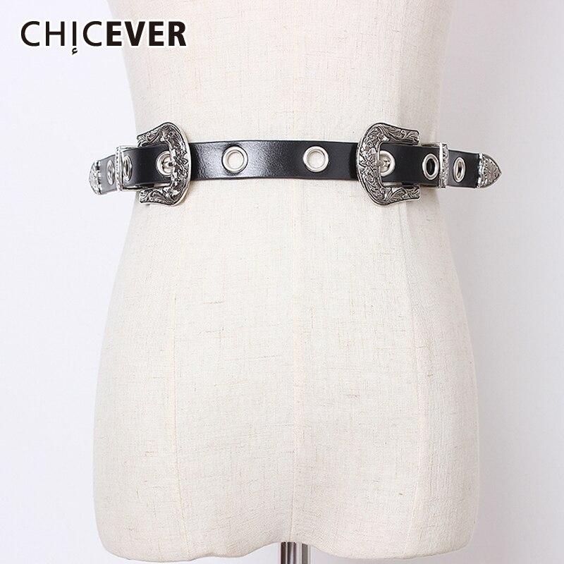 CHICEVER High Waist Print PU Belt For Women Vintage Dresses Accessories Hole Belts Female 2019 Fashion New Tide Summer