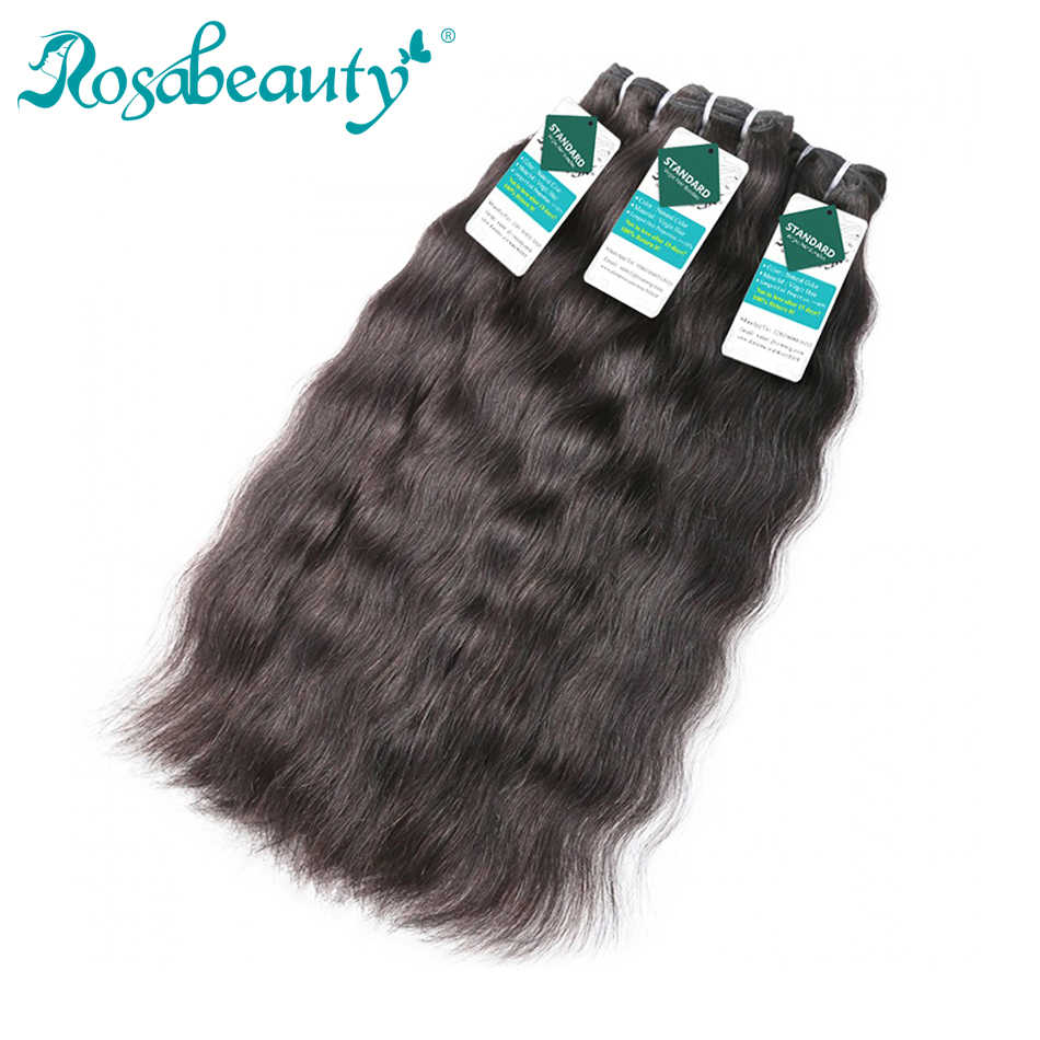 Rosabeauty Raw Indian Virgin Hair Weave Bundles Indian Hair Natural Straight 100% Human Hair Extension Natural Color 10-24Inch