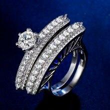 лучшая цена Original Design Handmade cz unique style 2 pcs set in 1 unique couple Ring  Cubic Zirconia Hot Ins sterling silver 925