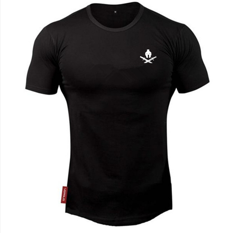 Mens summer new t -shirt workout Fitness Bodybuilding Shirts Slim fit Fashion Casual Male Short Sleeve cotton Tees Tops clothe