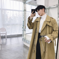 England Style Mens Cotton Trench Coat Long Men Windbreaker Long Coat Loose Sewing Thread Spliced Chic Overcoat Outwear Male