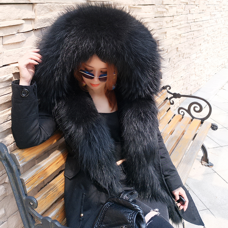 New Arrival Fur Parka 2018 Brand short Women Winter Coat Real Raccoon Fur Jacket Luxury Large Parka Femme