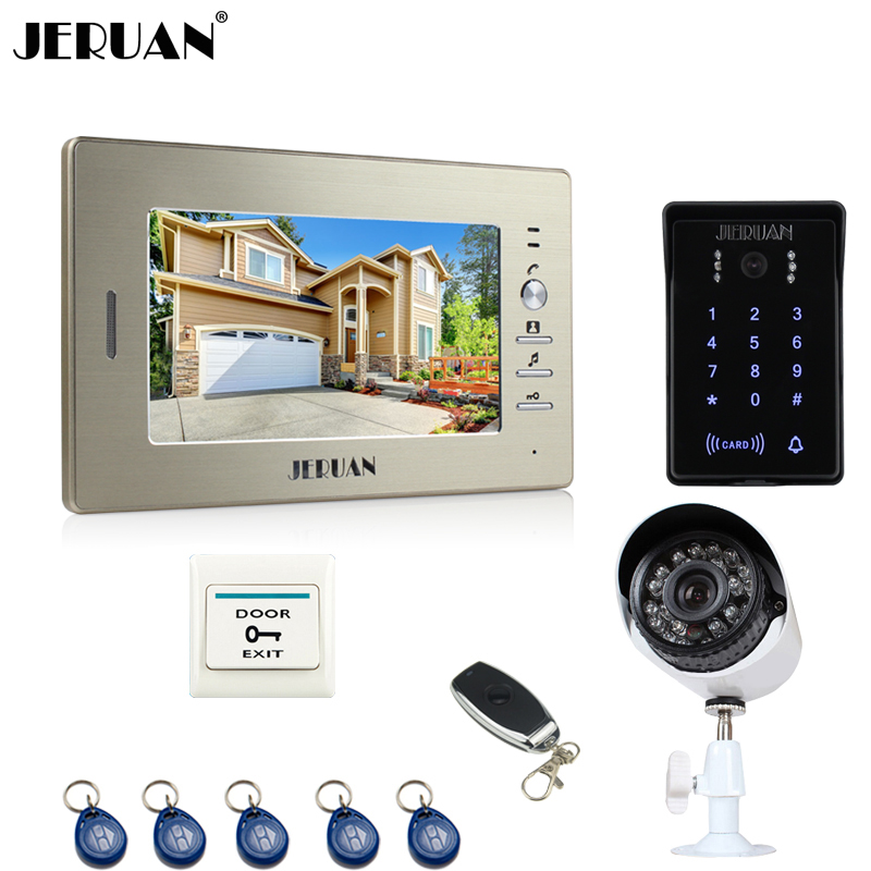 JERUAN 7``video door phone intercom System monitor new RFID waterproof Touch Key password keypad Camera+700TVL Analog Camera jeruan 7 lcd video door phone record intercom system 3 monitor new rfid waterproof touch key password keypad camera 8g sd card
