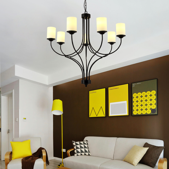 Glass Lampshade Vintage Chandelier For Dining Room Living Lighting Black Metal Body Light Fixture