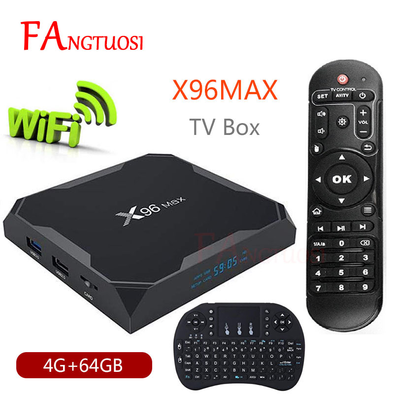 X96 Max Android 8.1 Smart TV BOX Amlogic S905X2 LPDDR4 Quad Core 4 GB 64 GB 2.4G & 5 GHz Wifi BT 1000 M H.265 4 K décodeur X96Max