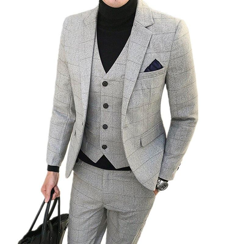 Пиджак брюки жилет комплект из 3 предметов/Мода 2018 г. Новый для мужчин's повседневное бутик бизнес костюм с рисунком «решетка» костюмы пиджак...